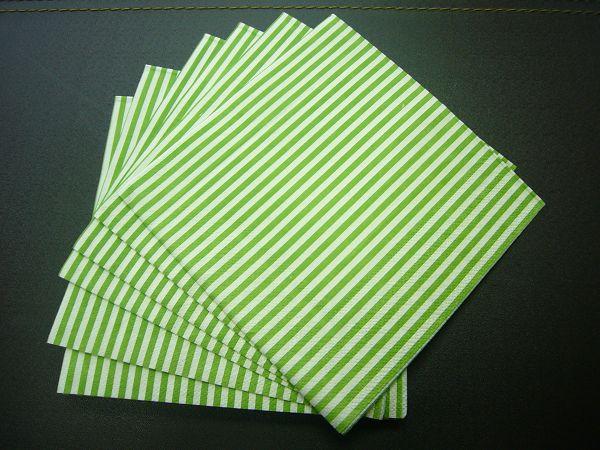 蝶古巴特直線條餐巾紙AB001~綠白之間