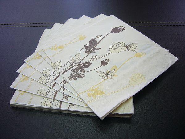 蝶古巴特植物花卉餐巾紙AD001~線條式玫瑰