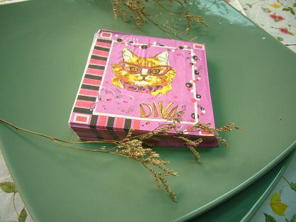 蝶古巴特動物卡通畫餐巾紙BF0003小貓*1張