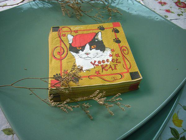 蝶古巴特動物卡通畫餐巾紙BF0004小貓*1張