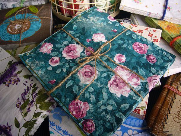 蝶古巴特植花餐巾紙CAA002~綠底玫瑰花