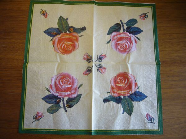 蝶古巴特植物花卉餐巾紙DA003~黃底玫瑰*1張