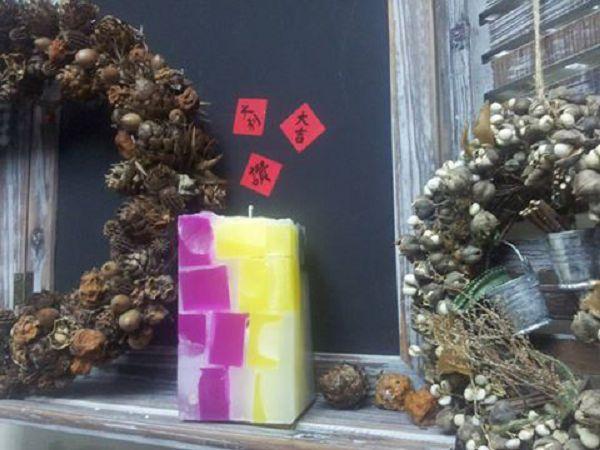 手工蠟燭選修課-12 色塊蠟燭*1