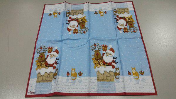 (a1060315-6)蝶古巴特餐巾紙*1張(聖誕與貓)