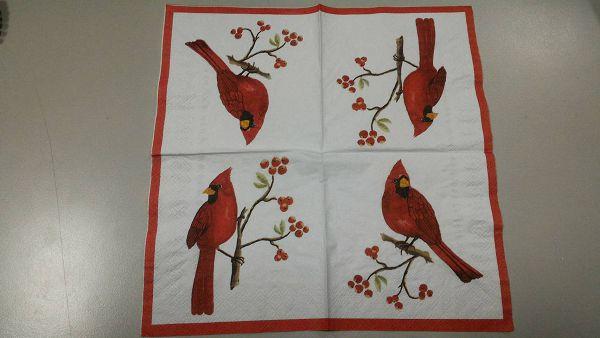 (a1060315-8)蝶古巴特餐巾紙*1張(小紅鳥)