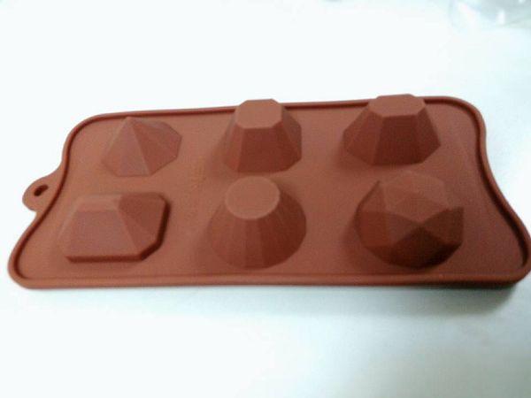 寶石礦石蠟燭模具-2 軟質小寶石矽膠模具*1片(6孔)