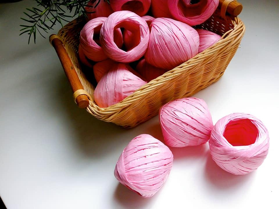 600-12-add 拉菲草(溫馨粉紅)*1球